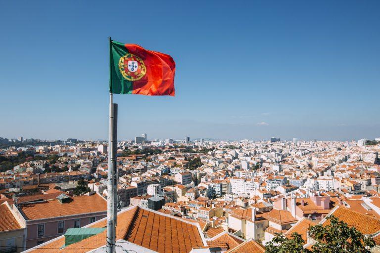 Portuguese flag and Lisbon skyline, Portugal